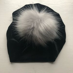 Velvet turban hat with grey fuzzy Pom Pom